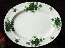 ART DECO ROYAL DOULTON OVAL SERVING PLATTER E 3326 ADELAIDE RICH GREEN 13""